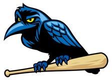 Raven mascot and the baseball bat Royalty Free Stock Image