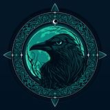 Raven on night background. Of a big pale moon Royalty Free Stock Images