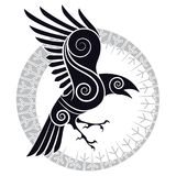 The Raven of Odin in a Celtic style and design runic circle. Vector illustration Stock Photography
