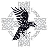 The Raven of Odin in a Celtic style patterned Celtic cross. Isolated on white, vector illustration vector illustration