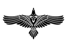 The Raven of Odin, In Norse, Celtic style. On white, illustratin Vector Illustration