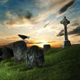 Raven and old tombstone Royalty Free Stock Photos