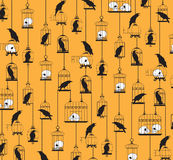 Raven Pattern. Vector illustration of a continuous pattern featuring ravens, cages and skulls Royalty Free Stock Photography