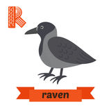 Raven. R letter. Cute children animal alphabet in vector. Funny Stock Photo
