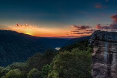 Sunset from Raven Rock, Coopers Rock State Forest stock images