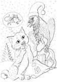 Raven Santa and lynx Christmas and gifts Royalty Free Stock Photography
