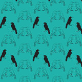 Raven seamless pattern. Black raven, seamless pattern, contour drawing, silhouette, on a turquoise background Royalty Free Stock Photography
