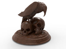 Raven sitting on two skulls. 3D render illustration of a raven sitting on two skulls. The sculpture is isolated on a white background with shadows Stock Photos