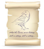 Raven sketch on paper scroll inspired by Edgar Allan Poe poetry vector illustration Stock Image