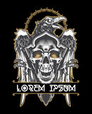 Raven and skull.Vector illustration. Dark evil raven with spread wings and skull.Vector illustration Royalty Free Stock Photo