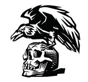 Raven and skull Royalty Free Stock Photos