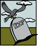 Raven in a tombstone vector illustration Royalty Free Stock Image