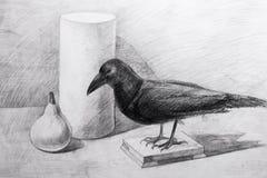 Raven, un cilindro e una pera estratti con una matita Fotografia Stock Libera da Diritti