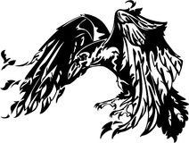 Raven vector. Flying raven illustration in black and white Stock Photography