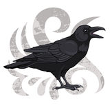 Raven. On a vintage background, vector illustration Stock Photography
