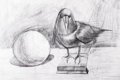 Raven y la bola dibujada con un lápiz Imágenes de archivo libres de regalías