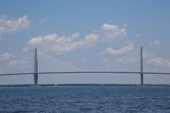 Ravenel桥梁,查尔斯顿,南卡罗来纳 图库摄影