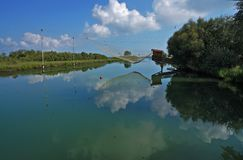 The lagoon of the The Pialassa della Baiona. Ravenna,Emilia Romagna,Italy The Pialassa della Baiona is a brackish lagoon that stretches for about 11 km2 in the royalty free stock photo