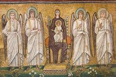 Ravenna Italien - 7 juli 2016 - basilika av San Vitale mosaiker Royaltyfria Bilder