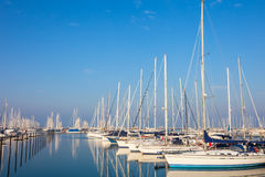 RAVENNA, ITALY, January 07, 2014: boats in the Ravenna marina ha Royalty Free Stock Photography