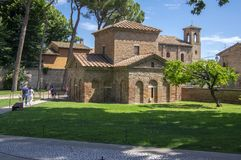 Ravenna / ITALY - June 20, 2018: San Vitale Basilica amazing beautiful historic building, place of interest. Sunny day and blue sky stock photography