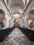 Central nave with barrel vaulted ceiling of the Duomo of Ravenna, Italy. royalty free stock photos