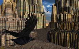 Ravens Flying in Fantasy Canyon. Ravens fly through a fantasy canyon - 3D render royalty free illustration