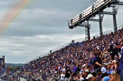 Ravens Football. Angular Fan base of NFL stadium home game with rainbow in the sky stock photo