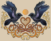 Ravens pair and heart Celtic ornament Royalty Free Stock Image