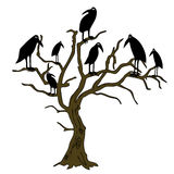 Ravens on the rampike - vector Stock Images