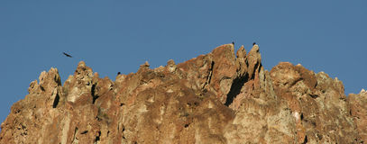 Ravens Roost at Smith Rock State Park - Terrebonne, Oregon. Smith Rock is a 550 foot towering mass of rock just east of Terrebonne, Oregon.  The formation Stock Photography
