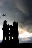Ravens Tower. Haunted Ruins with glowing beams of light coming through lower windows and birds circling and settling on Turrets  under a stormy night sky in Royalty Free Stock Image