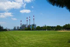 Ravenswood Generating Station. Is a 2,480 megawatt power plant in Long Island City in Queens, New York. It is owned and operated by TransCanada Corporation. The Royalty Free Stock Image