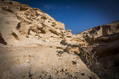 The ravine of the enchanted or lover Fuerteventura canary-island. The ravine of the enchanted or lover. Fossil dunes carved by water in La Oliva, Fuerteventura Stock Image