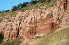 Ravine in a geological reserve. Rapa Rosie, Romania Royalty Free Stock Photos