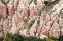 Ravine in a geological reserve. Rapa Rosie, Romania Royalty Free Stock Images