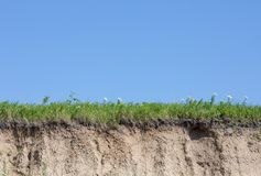 Ravine Or Gully Cut With Soil, Grass And Blue Sky Stock Photography
