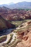 Ravine in park. Ravine in Zhanye Danxia national park in China Royalty Free Stock Images
