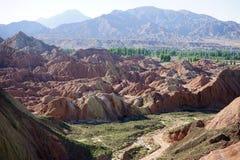 Ravine in park. Ravine in Zhanye Danxia national park in China Royalty Free Stock Image