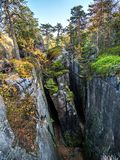 Ravine in the Table Mountain National Park, Poland stock photo