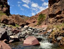 Ravine after the rains, Gran canaria. Ravine of Tirajana after the rains, blue sky and clouds, Gran canaria, Canary islands Stock Photos