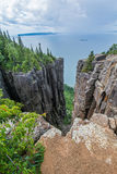 The Ravine. At the top of the sleeping giants knees with rain in the distance. Sleeping Giant Provincial Park Ontario Canada Royalty Free Stock Photography