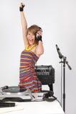 Raving DJ girl stock photo
