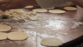 Ravioli τα συστατικά, προετοιμάζουν τις σπίτι-μαγειρευμένες μπουλέττες στον πίνακα, απόθεμα βίντεο