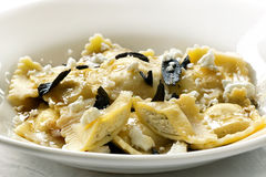 Ravioli with Burnt Sage Butter and Cheese. Ravioli with burnt sage butter and feta cheese Royalty Free Stock Photography