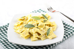 Ravioli with butter and sage Royalty Free Stock Photo