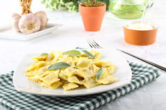 Ravioli with butter and sage Stock Photos