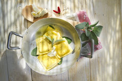 Ravioli With Butter And Sage Stock Images