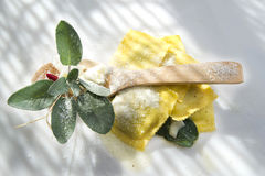 Ravioli With Butter And Sage Royalty Free Stock Photos