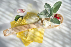 Ravioli With Butter And Sage Royalty Free Stock Images